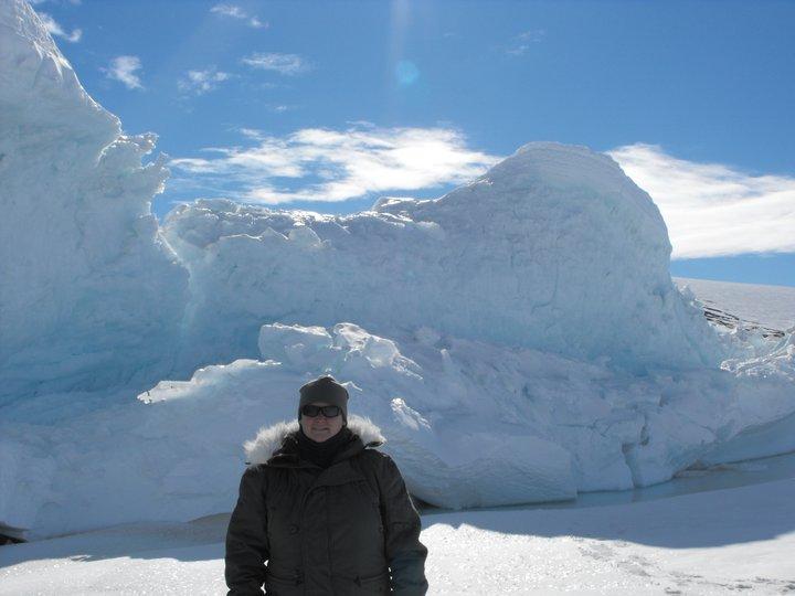 Audra standing infornt of ice peaks
